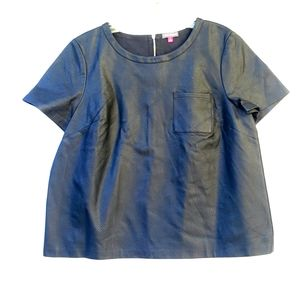 Vince Camuto Vegan Leather Short Sleeve TOP